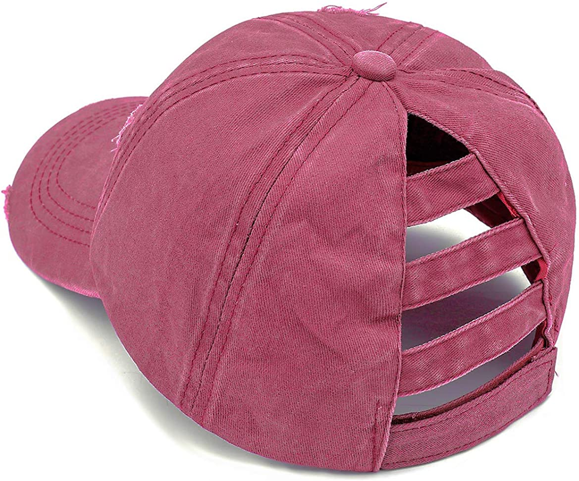Henwarry Women's Washed Distressed Cotton Denim High Ponytail Hat Adjustable Baseball Cap