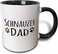 3dRose Schnauzer Dog Dad - Doggie by Breed - Muddy Brown paw Prints - Doggy Lover - Proud pet Owner Love - Two Tone Black Mug, 11oz (Mug_153977_4)