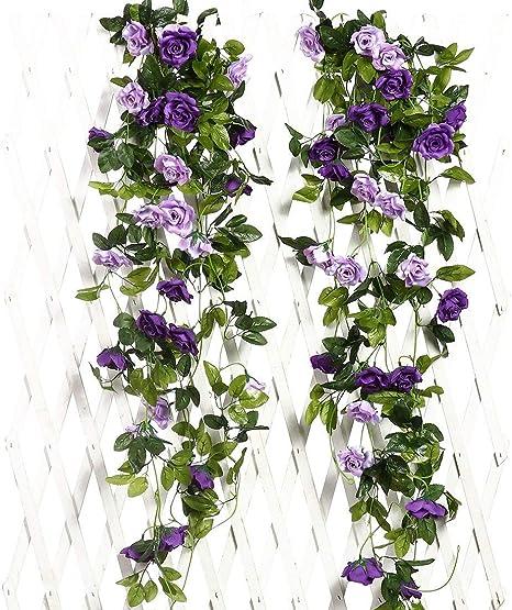 Amazon Com Justoyou 2pcs Artificial Rose Vines Flowers Garland Hanging Silk Rose Vine Wedding Home Office Arch Arrangement Decoration 7 9ft Purple Home Kitchen