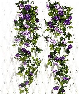 JUSTOYOU 2PCS Artificial Rose Vines Flowers Garland Hanging Silk Rose Vine Wedding Home Office Arch Arrangement Decoration...