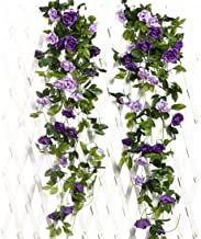JUSTOYOU 2PCS Artificial Rose Vines Flowers Garland Hanging Silk Rose Vine Wedding Home Office Arch Arrangement Decoration 7.9FT(Purple)