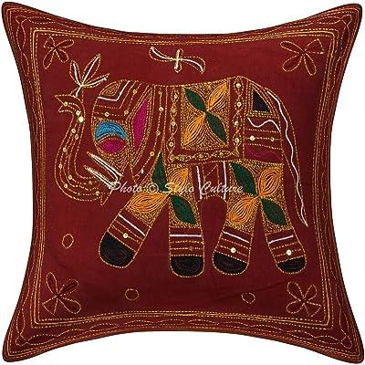 Amazon.com: Indian Patchwork bordado Negro Throw 16 X 16 ...