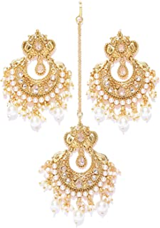 Vishal-Vatika Fabulous Look Party Wear Gold Plated with Crystal Stone Earrings with Tikka Set