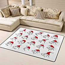 Doormats Area Rug Rugs Xmas Happy New Year 2018 Outlined Silhouettes of Different Dogs Heads Profiles Faces Portraits Floor Mat for Home Decor 60