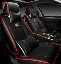 MOEBULB Universal PU Leather Car Seat Cushion Cover Front and Rear 10PCS Full Set Needlework Seat Pad Protector Set for Audi BMW Toyota Chevy Hyundai