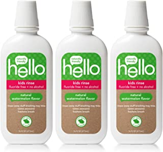 Hello Oral Care Kids Fluoride Free and SLS Free Rinse, Organic Watermelon, 3 Count