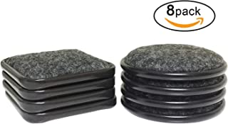 Set of 8 Pack -Size 2-1/2 Inch Carpet Base Metal Cups Furniture Caster Cups Square/Round for Tables,Desks,Sofas,Bookcases,Entertainment Centers,Dressers,Refrigerators,(8 Packs),Brown