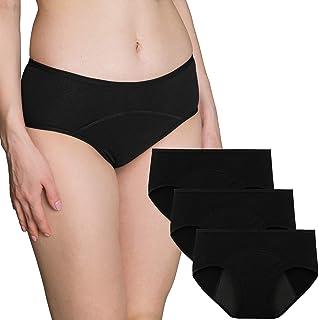 INNERSY Perioden Unterwäsche Damen Baumwolle Menstruation Unterhosen Postpartum Slips 3er Pack