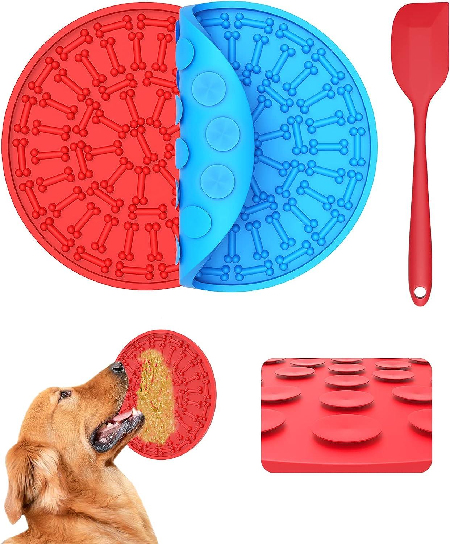 YHmall 2 Unidades Almohadilla Para Lamer, Alimentador Lento Alfombrilla Para Lamer Perro De Silicona De Huesos Para Bocadillos Para Perros, Baño De Mascotas, Aseo Y Entrenamiento.