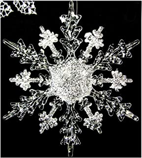 5pcs Acrylic Snowflake Christmas Tree Hanging Ornaments, Festival Party Drops Ornaments Xmas Hanging Decorations Window decoration 11cm (White)