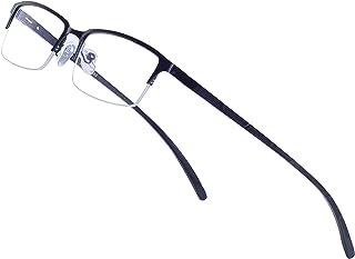 4a76b966cd Blue Light Blocking Glasses Men Half-Rim Rectangular Metal Frame Clear Lens