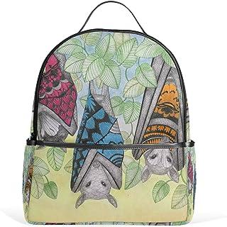 MASSIKOA Tropical Wonderland Inverted Bats Leaves Laptop Backpack Casual Shoulder Daypack for Student School Bag Handbag -...