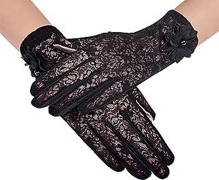 Nurbijar Women Stretch Anti-slip Touch Screen UV Protection Lace Gloves