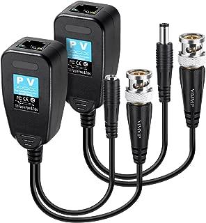 VIMVIP HD-CVI/TVI/AHD Passive Video Balun with Power Connector and RJ45 CAT5 Data Transmitter 1 Pair