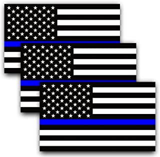 ANLEY 5 X 3 inch Thin Blue Line US Flag Decal - Reflective Black White and Blue American Flag Car Bumper Stickers - Suppor...
