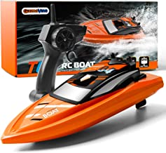 GizmoVine Barco Teledirigido Barco Teledirigido Alta Velocidad de 2.4 GHz ,1 Batería,Juguetes Electronico para Niño Niña Juegos en Bascula Baño y Piscina(Naranja)