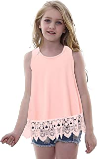 Vieille Girls Clothing Lovely Pink Tshirts Tops Casual Sleeveless Tee Round Neck Boutique Blouse Kids Sleeveless Tunic Top...