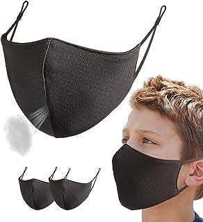 Sponsored Ad - Kids Breathable Mesh Face Mask Reusable Washable Adjustable Sports Masks Outdoor School for Boys Girls Black