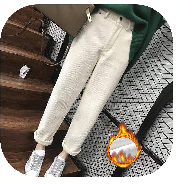 Casual Corduroy Pants Women Winter Plus Velvet Harem Pants Pantalon