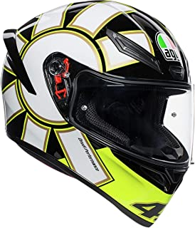AGV Unisex-Adult Full Face K-1 Gothic 46 Motorcycle Helmet (Black/White/Yellow, Medium/Small)