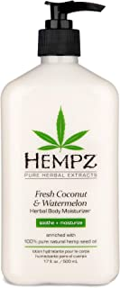 Hempz Fresh Coconut & Watermelon Moisturizing Skin Lotion, Natural Hemp Seed Herbal Body Moisturizer with Chamomile & Avoc...