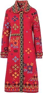 IVKO Collar Coat Geometric Pattern, Cherry