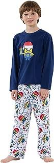 PajamaGram Officially Licensed Minion Holiday Fleece Big Boys' Pajamas, Blue