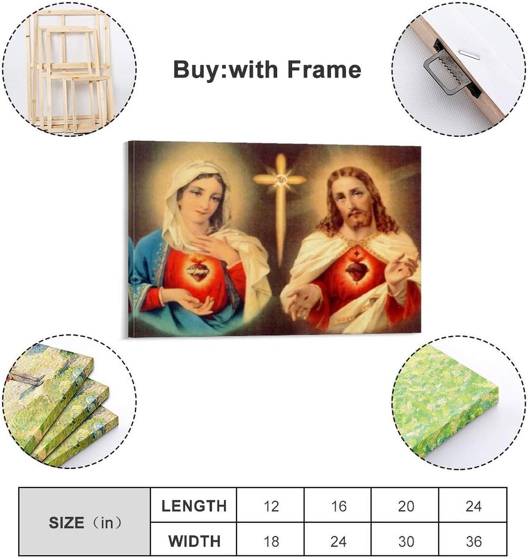 LINSHEN P/óster de la Virgen Mar/ía y el Sagrado Coraz/ón de Jesucristo Pintura Decorativa Lienzo de pared Arte de la Sala de estar Carteles Pintura del Dormitorio 20 x 30 cm