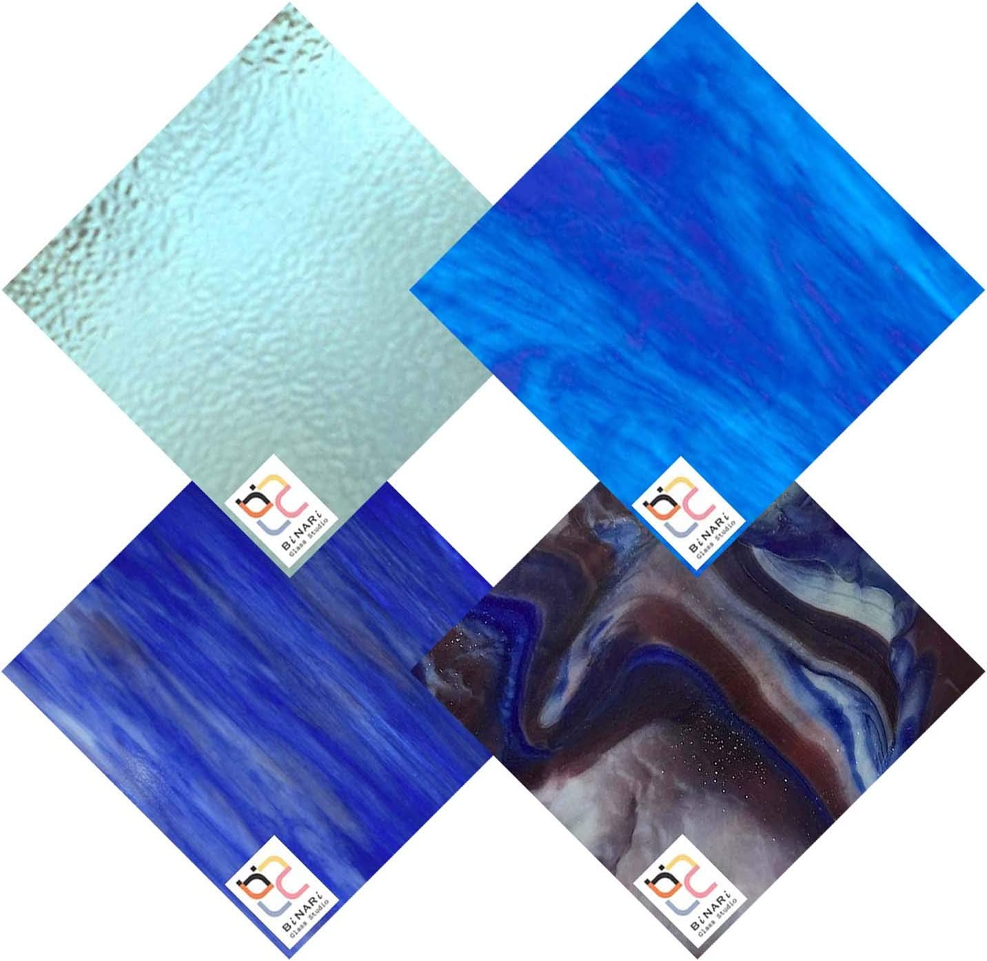 Wissmach 4 Fort Worth Mall Sheet Al sold out. Mixed Color Blue Pack Glass Stained Variety