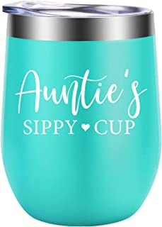 Aunt Gifts - Auntie's Sippy Cup - Best Aunt Ever Gifts, Aunt Gifts from Niece, Nephew - Funny Christmas Gifts, Aunt Announcement, Birthday Wine Gifts for Aunts, Sister - GSPY Aunt Mug Wine Tumbler