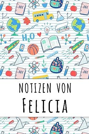 Notizen von Felicia: Liniertes Notizbuch für deinen personalisierten Vornamen