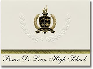 Signature Announcements Ponce De Leon High School (Ponce De Leon, FL) Graduation Announcements, Presidential style, Basic package of 25 with Gold & Black Metallic Foil seal