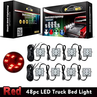 Partsam 8Pods Bright Truck Bed Lighting Kits 48 LED Red Rear Work Box Truck Pickup Cargo Bed Tail Light Universal for 12V Truck SUV Van