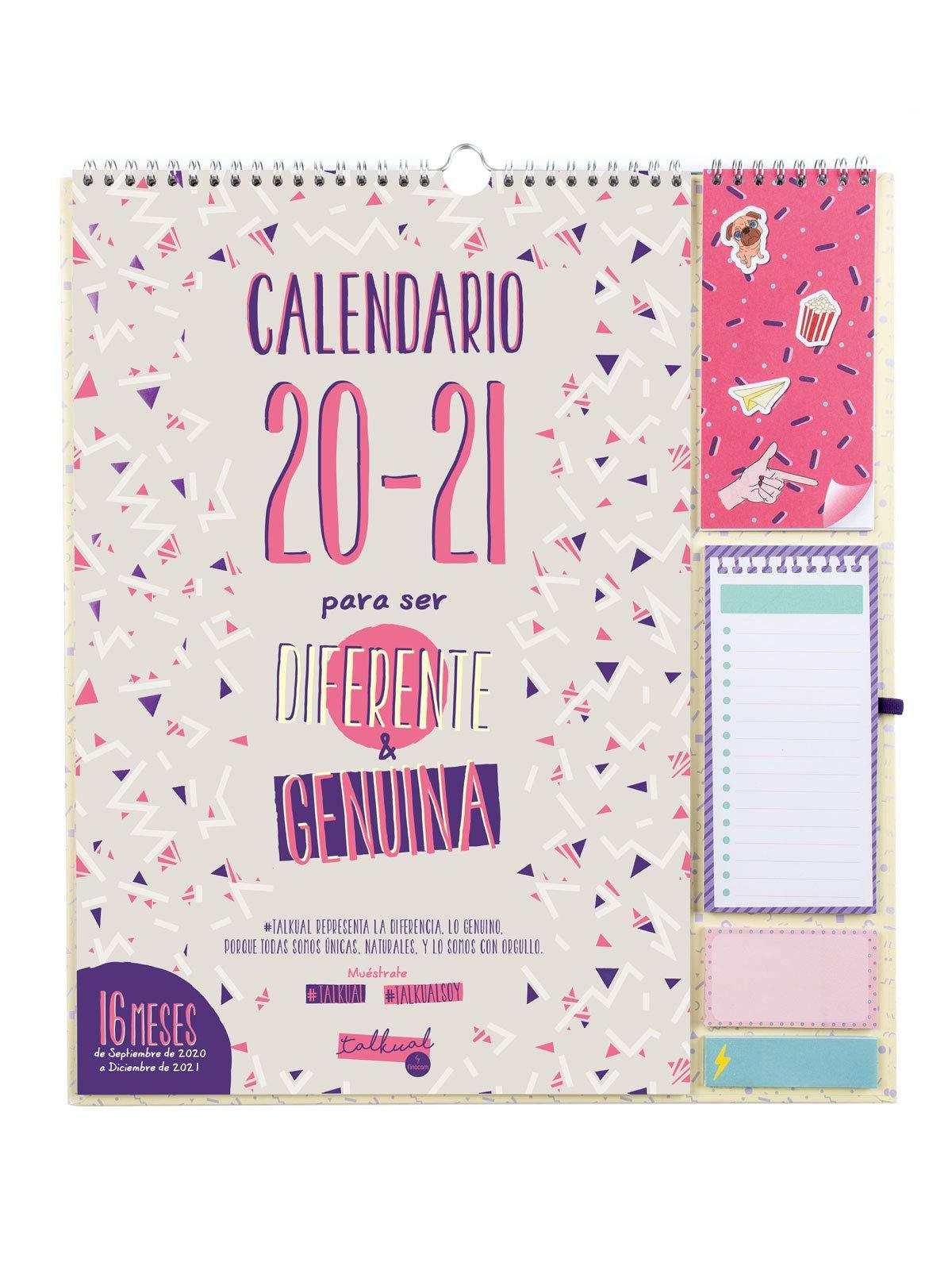 Finocam - Calendario de Pared 16 Meses 2020-2021 340x380 Mes Vista Talkual Plus Español: Amazon.es: Oficina y papelería