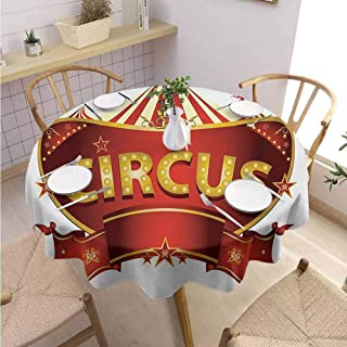 DILITECK Circus Banquet Round Tablecloth A Circus Sign Baroque Style Big Top Enjoyment Theme Marquee Nightlife Retro Table Decoration Diameter 50