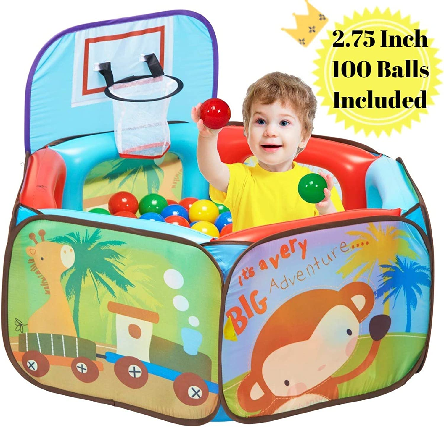 Lihsen 2 in 1 Ball Pit Play Tent, Pool Playpen with Basketball Hoop & Air Cushion Fence on The Inside & 100pcs 2.75  Soft Plastic Balls Included, Easy to Set Up