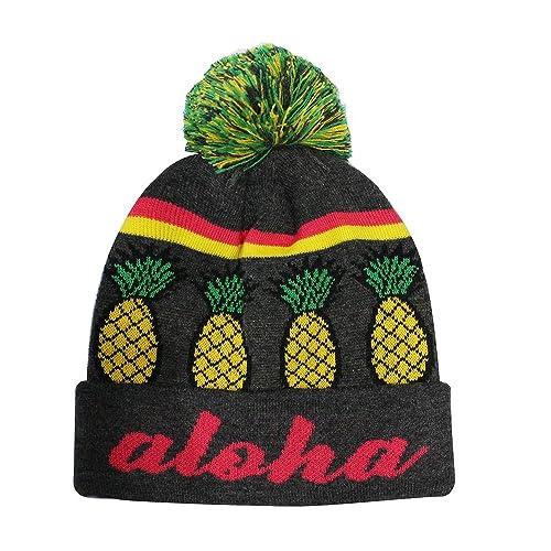 c9f637b3fc2 ChoKoLids Aloha Pineapple Pom Pom Beanie Fun Novelty Hats