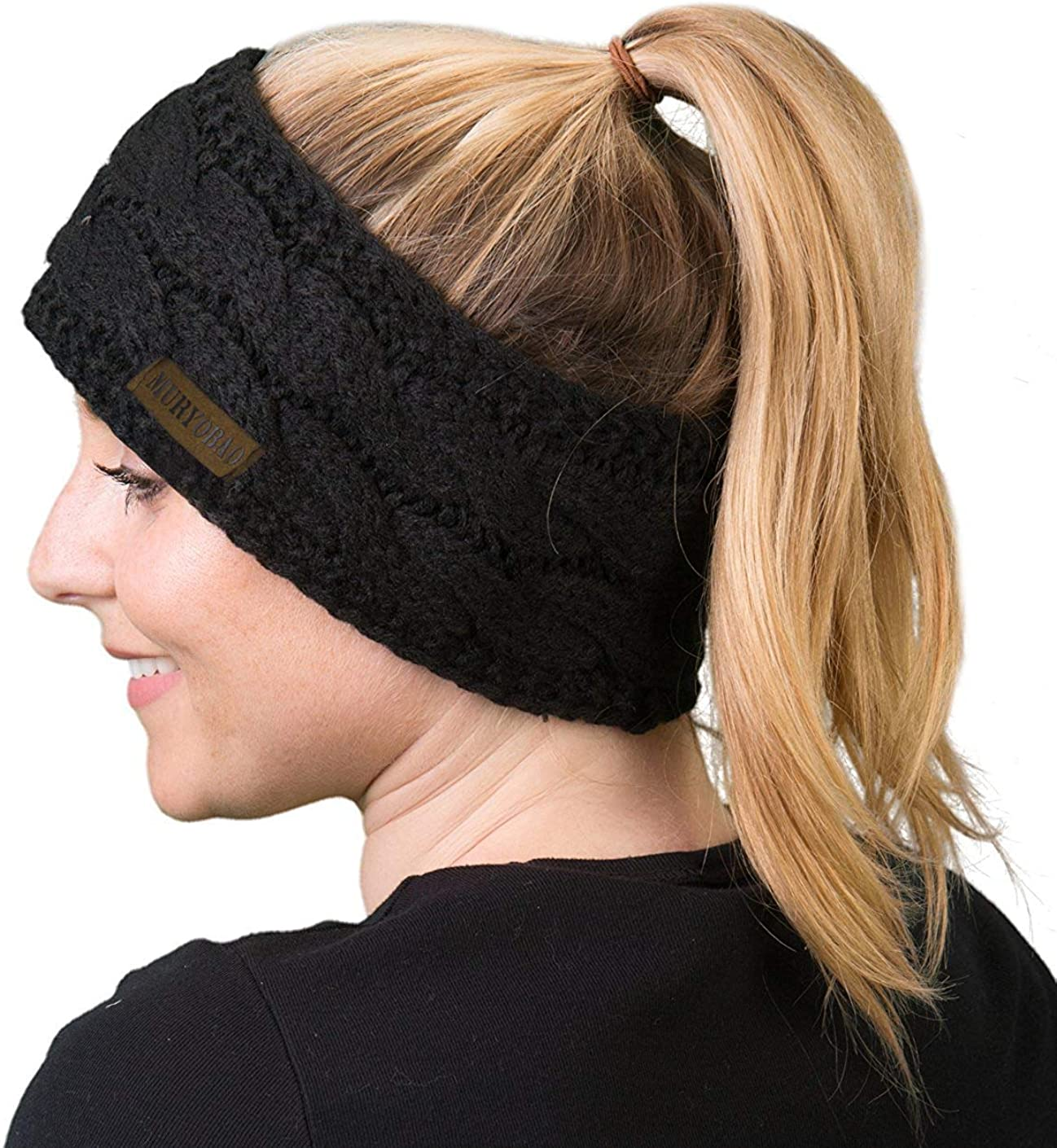 Women Winter Warm Headband Fuzzy Fleece Lined Thick Cable Knit Head Wrap Ear Warmer