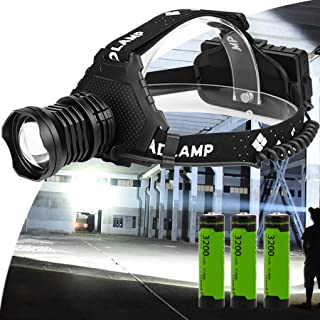 Headlamp,12000 Lumen LED 18650 USB Rechargeable Headlamp Head Light Waterproof Torch Lamp Flashlight Charger Long Battery ...