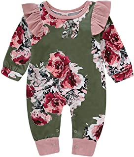 Simplee kids Infant Romper Outfits Baby Girls Fall Long Sleeve Flower Print Bodysuit Jumpsuit Clothes 0-18 Months