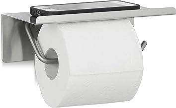 Relaxdays, Toiletpapierhouder voor aan de muur, toiletrolhouder, plank, h x b x d: 7 x 18,5 x 11 cm, zilveren toiletpapier...