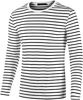 Sourcingmap Men's Striped T Shirt Crew Neck Long Sleeve Casual Cotton Pullover Tee Top