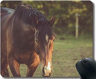 Yanteng Gaming Mouse Pad Custom, yegua paisajística de día con Borde Cosido