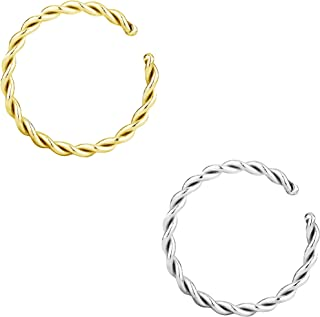 14g-20g Set of Surgical Steel Braided Hoops for Pierced and Fake Nose & Cartilage Piercings