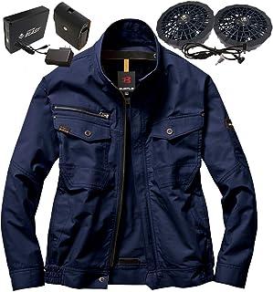 バートル 空調服 (綿100%ウェア AC1131 ネイビー) & ファン バッテリー (リンクサス製) お買得 フルセット