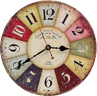 comprar comparacion Reloj Pared de Madera de la Vendimia,30cm Reloj Numérico Grande de Madera Retro,Silencioso No Tick Tack Ruido Reloj de Par...