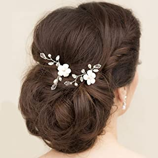 Adflyco Bride Wedding Hair Pins Flower Headpieces Crystal Hair Accessories for Women and Girls (Pack of 2)(Silver)
