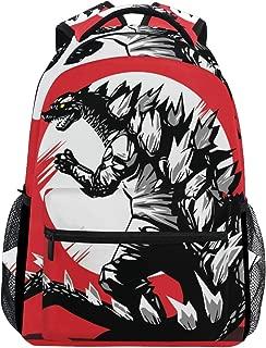 Red Godzilla Dinosaur School Backpack Large Capacity Canvas Rucksack Satchel Casual Travel Daypack for Adult Teen Women Men Children