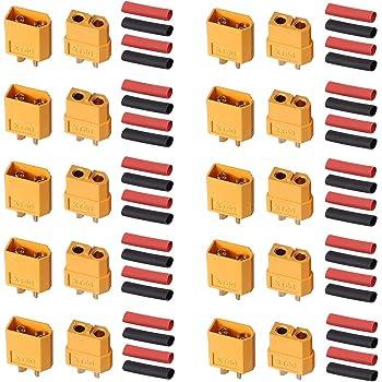 AUTOUTLET 10 Pairs XT60 XT-60 Male Female Bullet Connectors Power Plugs with 20Pcs Heat Shrink Tube for RC Lipo Battery/Car/Boat