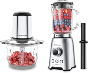 Elechomes 1Pcs Electric Food Chopper Processor Meat Grinder with 8 Cup Glass Bowl and 1Pcs Professional Countertop Glass Blender for Shakes and Smoothies with 64 Oz Glass BPA Free Pitcher Bundle